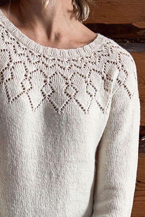 Photo of Free Knitting Pattern for a Women's Lace Yoke Dress Detail.