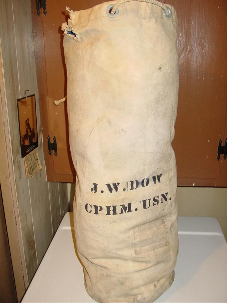 military wwii navy sailor duffel bag white canvas cphm sea ship gear duffle gear