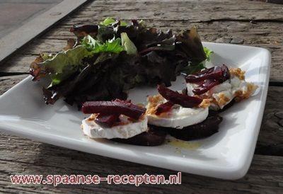 geitenkaas, rode biet, queso de cabra