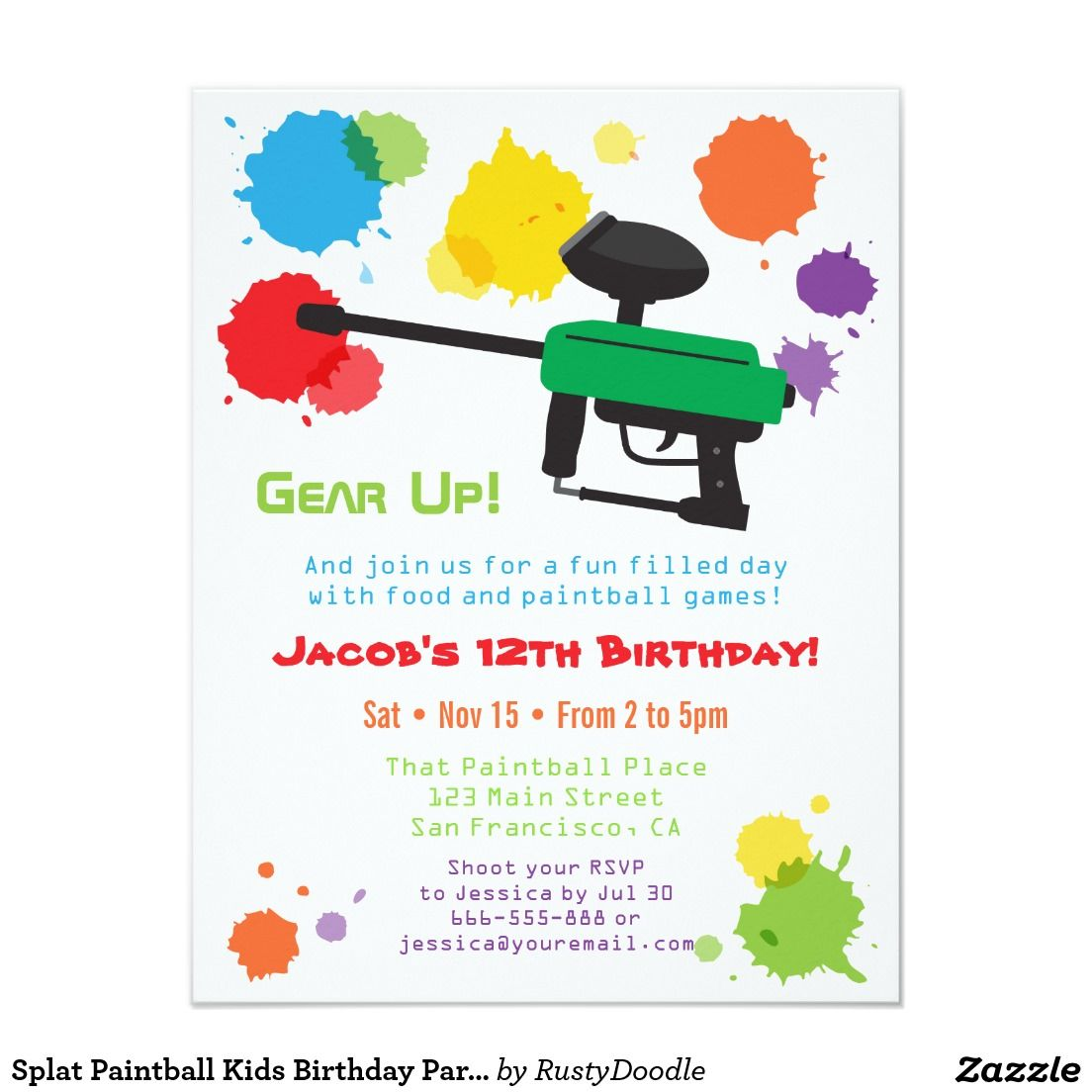 Splat Paintball Kids Birthday Party Invitations | Kids 2-12 Birthday ...