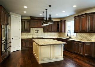 Dark Cabinets And White Island Brown