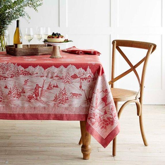Williams Sonoma Christmas Table.Snow Village Jacquard Tablecloth Williams Sonoma Merry