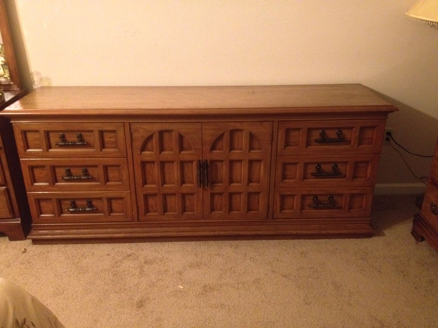 Vintage Solid Thomasville Oak Wood Bedroom Furniture Set Dresser