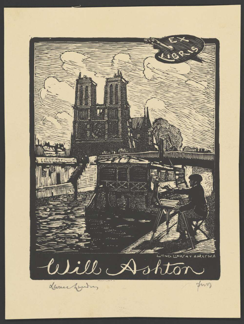 bookplate for Will Ashton - by Lionel Lindsay, 1950