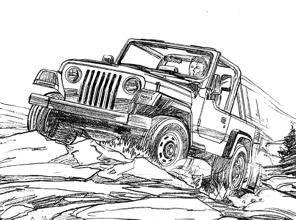 jeep wrangler coloring page for the kids - Jeep Coloring Pages