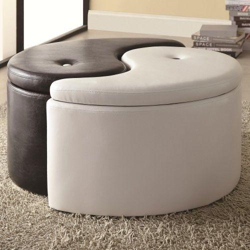 Yin-Yang Black & White Vinyl Storage Ottoman Living Room Cushion ...