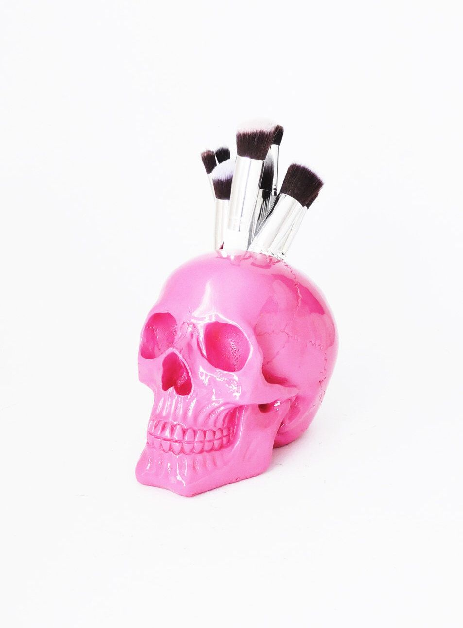 Skull Brush Holder, Skull, Makeup Brush Holder, Skull Sculpture, Skull Decor, Skull, Office Decor, Gothic, For Her, Human Skull, by hodihomedecor on Etsy https://www.etsy.com/listing/269849167/skull-brush-holder-skull-makeup-brush