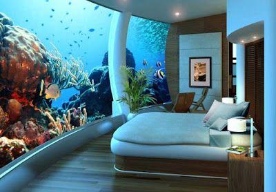 Awesome Aquarium Bedroom Interior Design Wallpaper