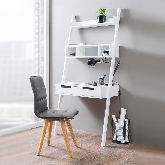 High Quality Kristina Retro Ladder Style Computer Desk In White With Storage