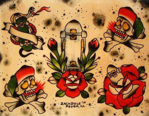 98a5d8894e Skateboard Tattoo Flash