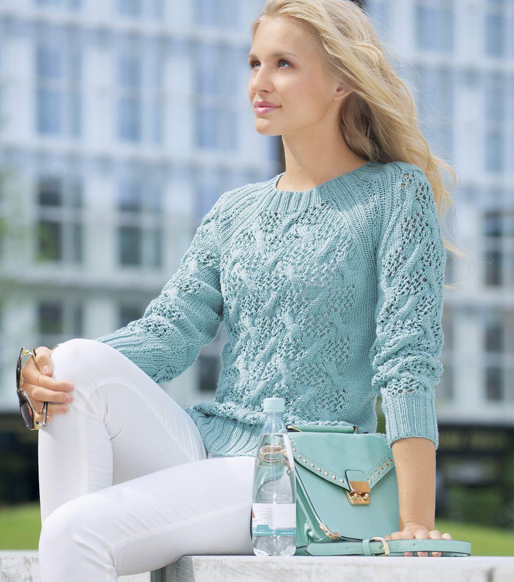 Вязание ажурного свитера регланом