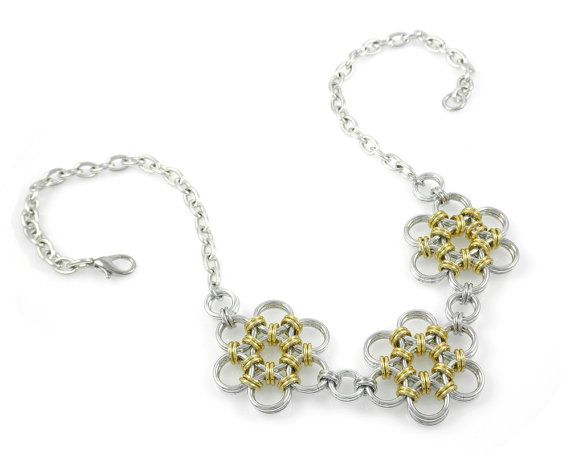 Gold Chain Mail Flowers Necklace by Jelene Britten Designs