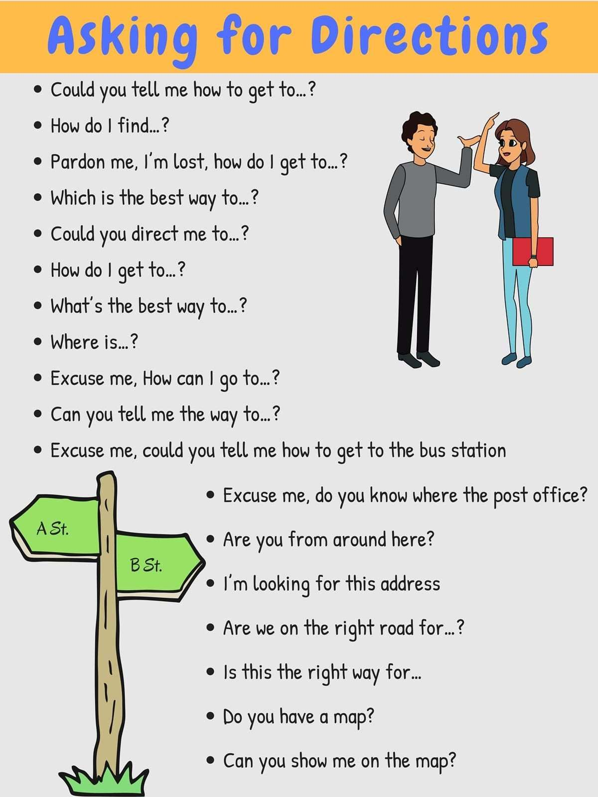 How To Ask For And Give Directions In English