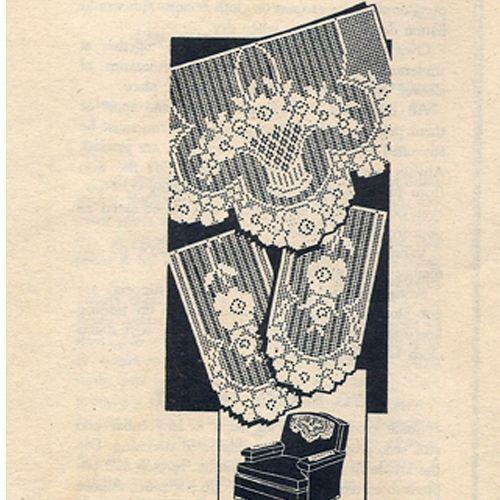 Filet Crochet Flower Basket Chair Set Pattern Mail Order American