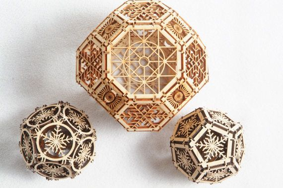 3D Laser Cut Geometric Design - Architectural Ornament - Archimedean Solids\u2026