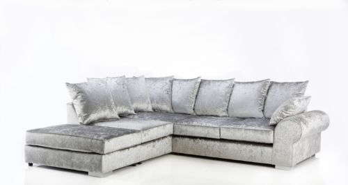 Details About New Large Crushed Velvet Silver Grey Corner Sofa Grey Corner Sofa Cushions On Sofa Velvet Corner Sofa