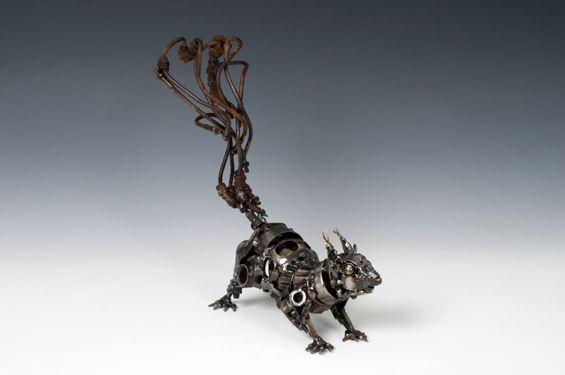 Steampunk Squirrel sculpture