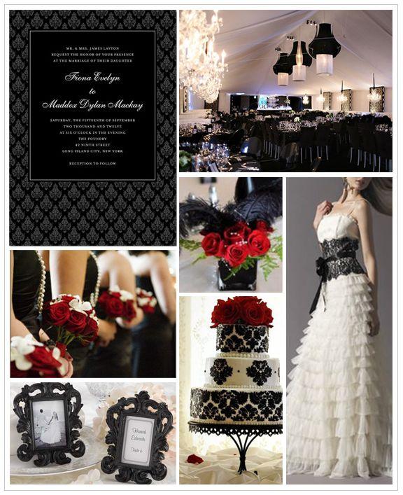 White And Black Wedding Ideas: Dark Romance Wedding Inspiration Board