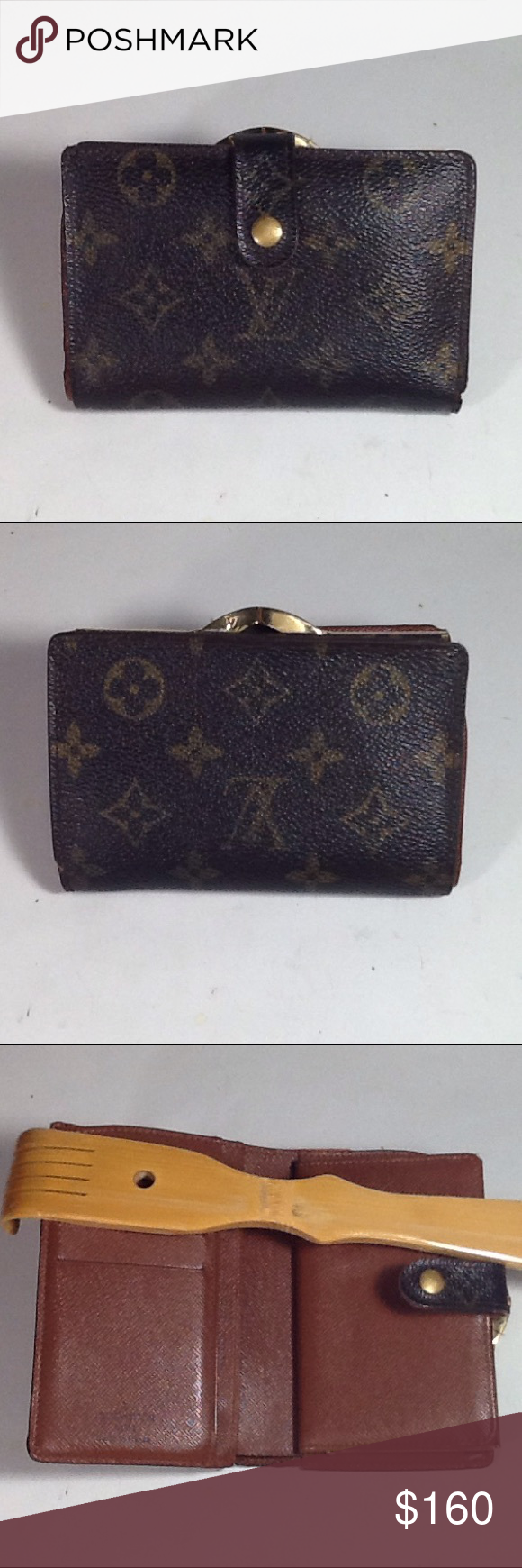 Authentic Louis Vuitton Porte Monaire Brown Wallet Leather and canvas showed minimum signs of used. The wallet was made in France with a date code MI 0068. The dimension is 3.5, 5 and 1. Louis Vuitton Accessories