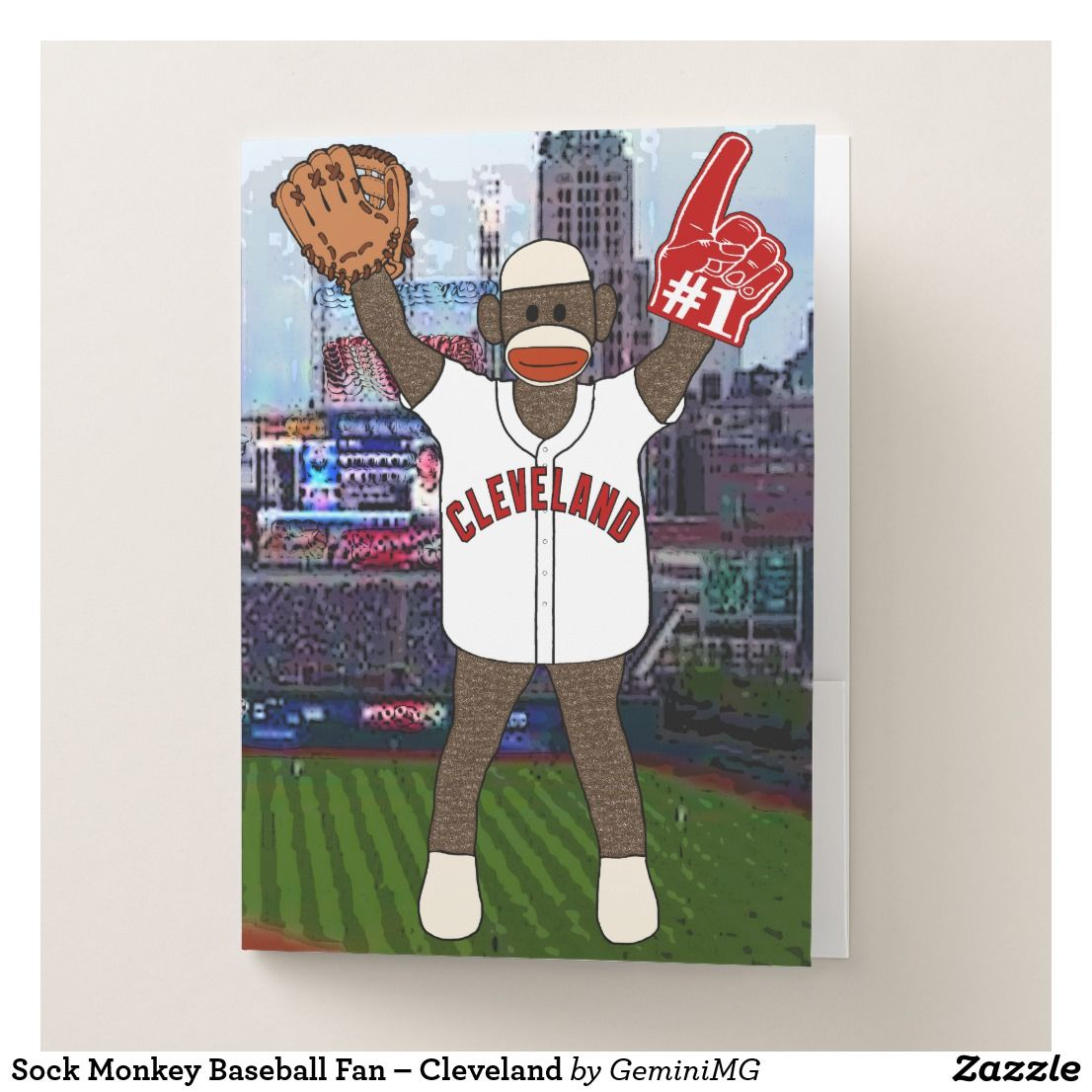 Sock Monkey Baseball Fan – Cleveland Pocket Folder | Zazzle.com #sockmoneky