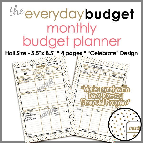 half size 55 x 85 monthly budget tracker planner printable worksheet celebrate design pb1504