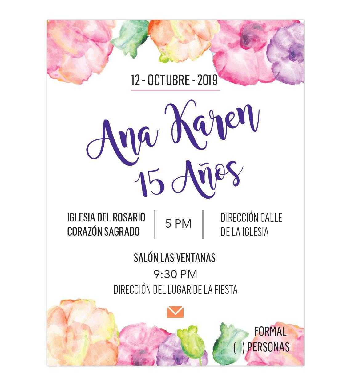 Invitación Xv Años Flores Colores Invitaciones Digitales