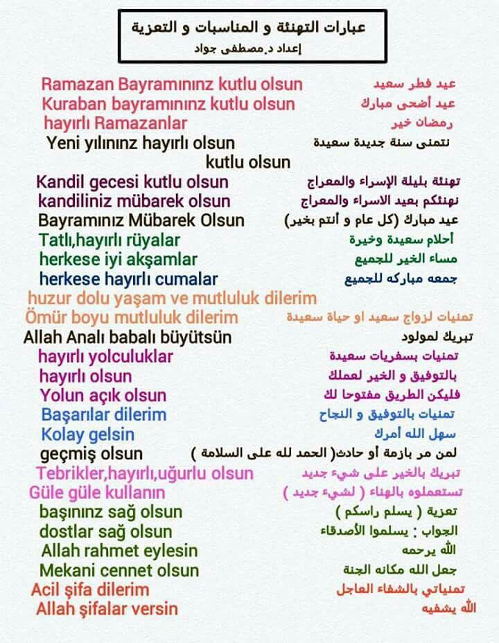 عبارات التهنئة والمناسبات والتعزية باللغة التركية Turkisch Feiertag