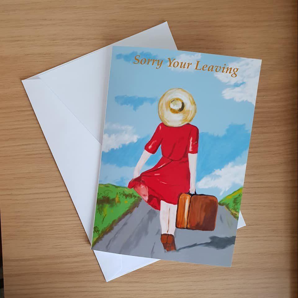 Sorry your leaving new job travelling goodbye farewell handmade