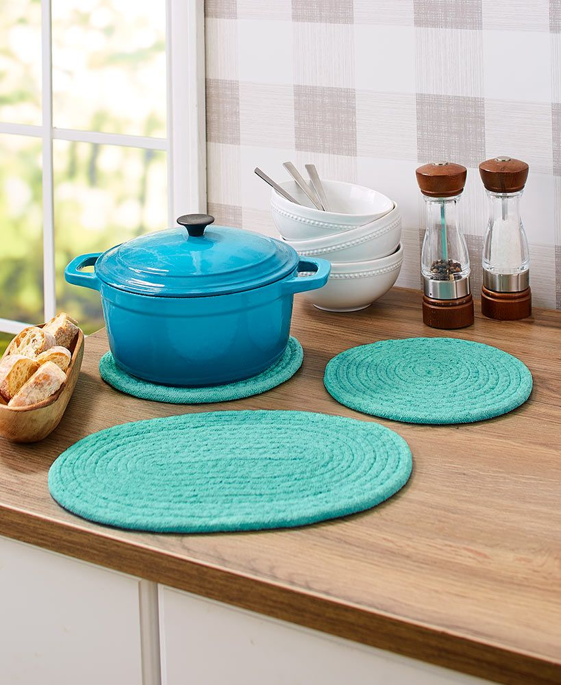 Sets Of 3 Fabric Trivets In 2020 Dining Storage Hot Plates Countertops