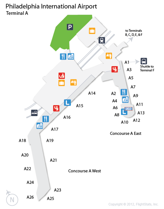 PHL Philadelphia International Airport Terminal Map Airports - Phl terminal map