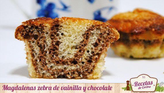 Magdalenas zebra de vainilla y chocolate -  Me encanta hornear magdalenas cuando dispongo de un rato libre; el olor que desprenden en la cocina es irresistible. Si ademas resultan sencillas de elaborar como estas, resulta difícil resistirse a la tentanción ¡y en casa lo agradecen y mucho! Como resultan muy sencillas, quise trabajarlas... - http://www.lasrecetascocina.com/2013/06/22/magdalenas-zebra-de-vainilla-y-chocolate/