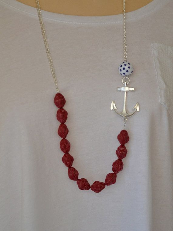 Anchor necklace vintage Nautical Knots by ColorblockShop on Etsy, $38.00