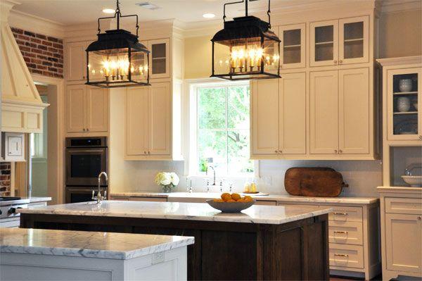 wonderful yellow kitchen walls cream cabinets | source: Luxe Living Interiors Exposed brick walls, cream ...