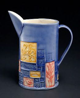 Kristy Lombard stamps pitcher pottery ceramics clay