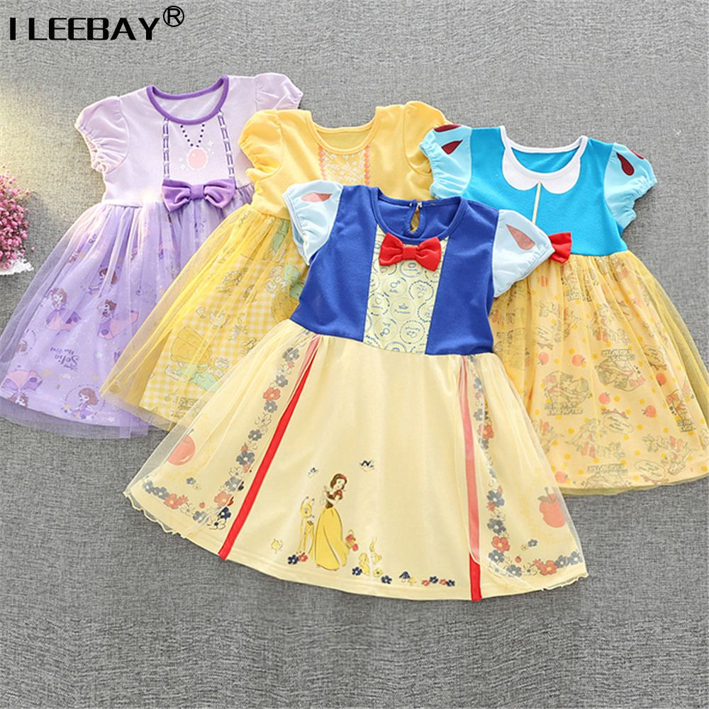 Yellow dress kids  Bbay Girl Clothing SnowWhite Belle Sofia Princess Dress for Kids