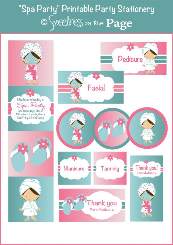 graphic about Spa Party Printable identified as Spa Celebration Customised Printable Celebration Offer which include