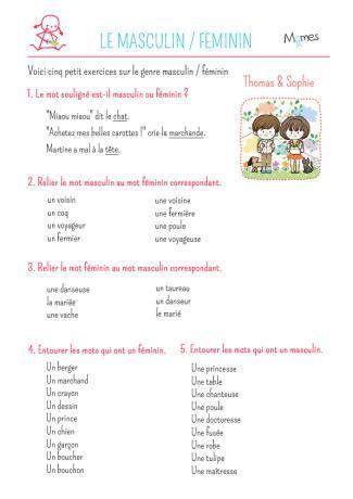 Exercice de grammaire : noms féminins et masculins | Exercice grammaire, Féminin masculin et ...