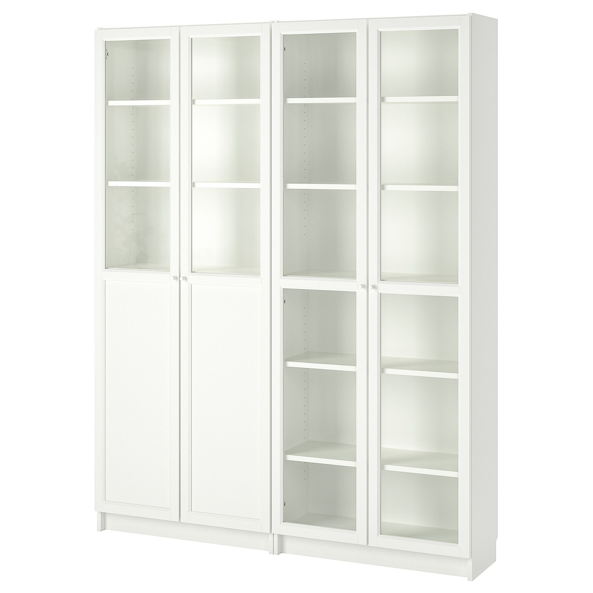 Billy Oxberg Bookcase With Panel Glass Doors White Glass
