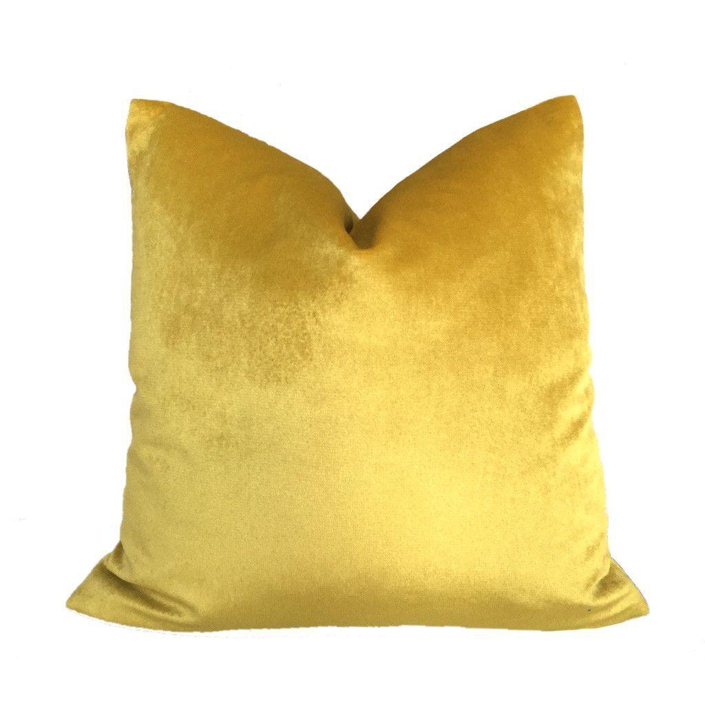 mustard yellow velvet pillow cover