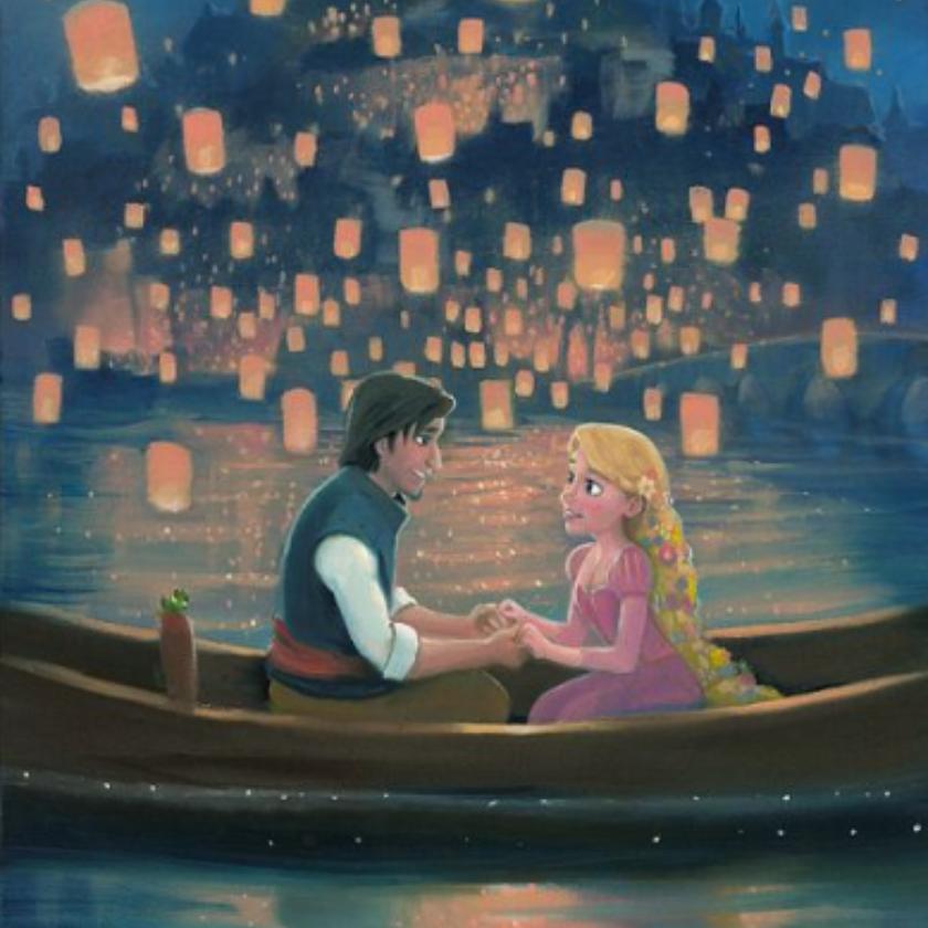 Rapunzel And Flynn In Sat In The Boat As They Watch The Lanterns Disney Art Disney Fan Art Disney Rapunzel