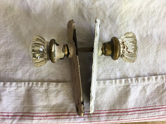 Vintage Glass Door Knobs With Metal Plates Victorian Decor