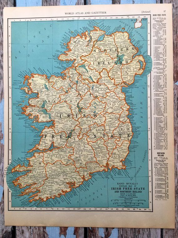 Print Map Of Ireland.1937 Ireland Antique Map Old Map Of Ireland Denmark Iceland
