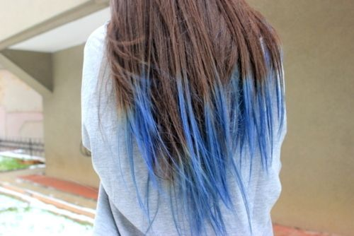 Blue Highlighted Hairstyle For Long Black Wavy Hair