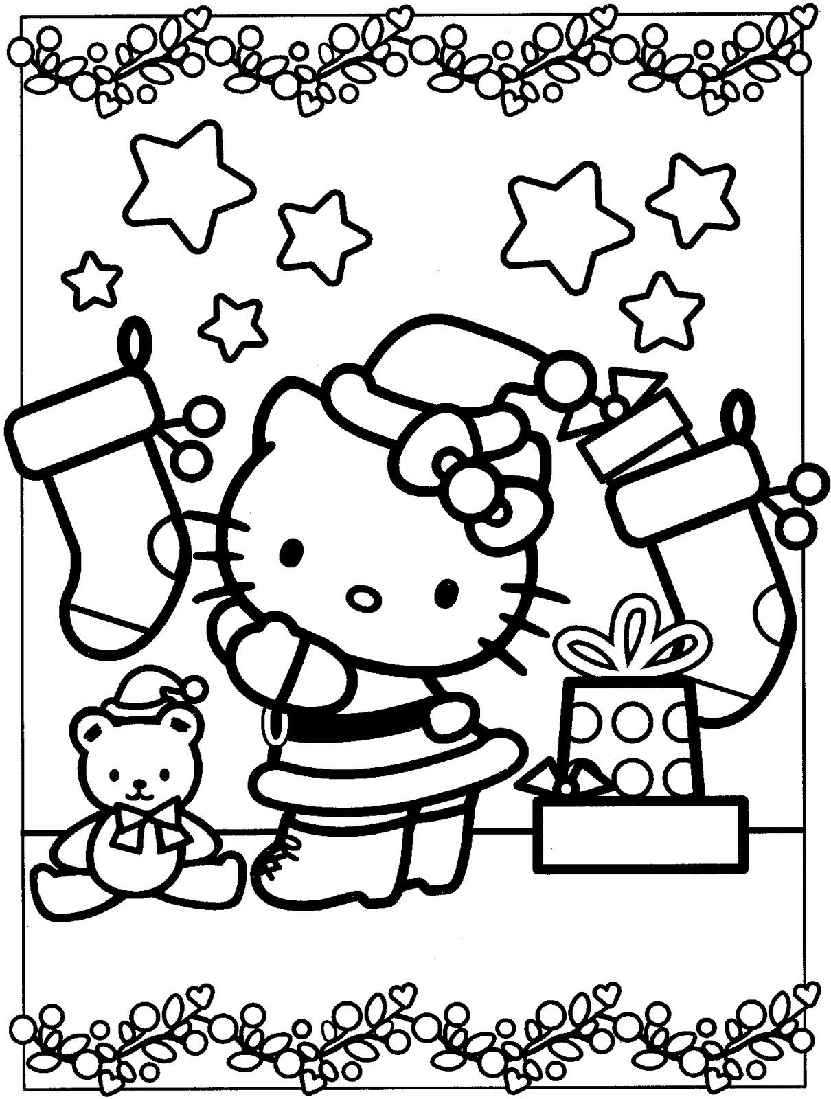 Chrismast hello kitty coloring pages http smilecoloring com hello kitty colouring