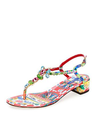 Jeweled+Carretto-Print+T-Strap+Sandal,+Multi+by+Dolce+&+Gabbana+at+Bergdorf+Goodman.