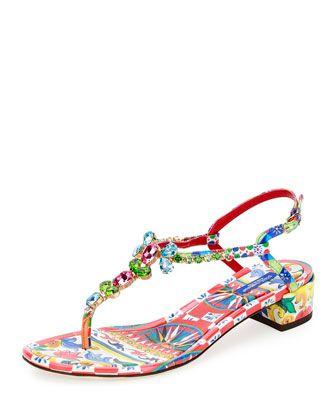 Jeweled+Carretto-Print+T-Strap+Sandal,+Multi+by+Dolce+&+Gabbana+at+Bergdorf+Goodman.