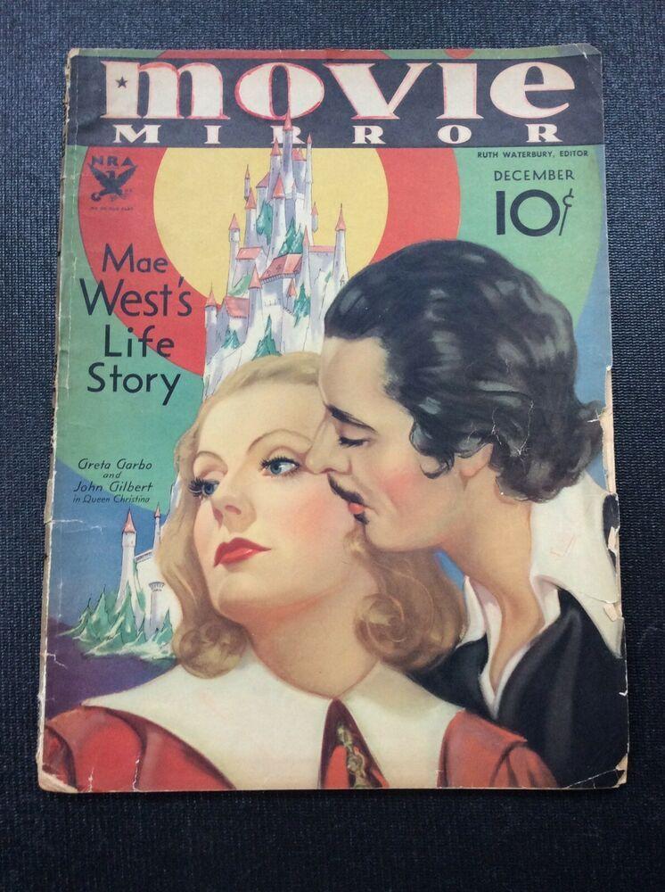1933 Movie Mirror Magazine Greta Garbo John Gilbert Joan Crawford Mae West Greta Garbo John Gilbert Movie Magazine