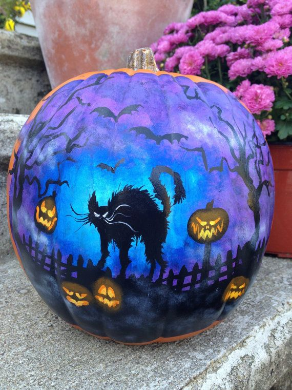 painted plastic pumpkin with black cat scene by seinafowler fall halloween. Black Bedroom Furniture Sets. Home Design Ideas