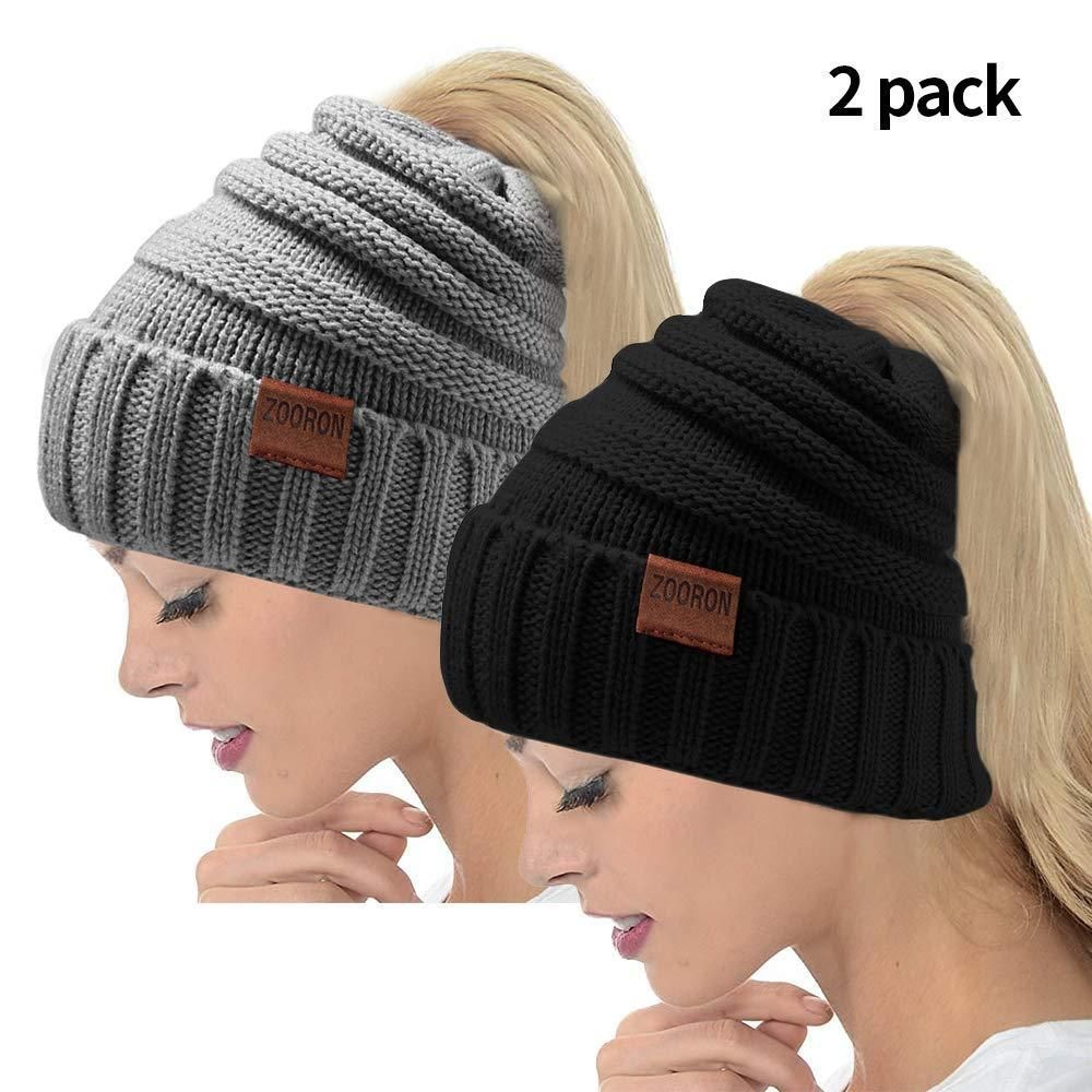 Winter Hats for WomenWarm High Bun Ponytail Beanie Hat (Hat-Black  fashion   e79ebee0622f