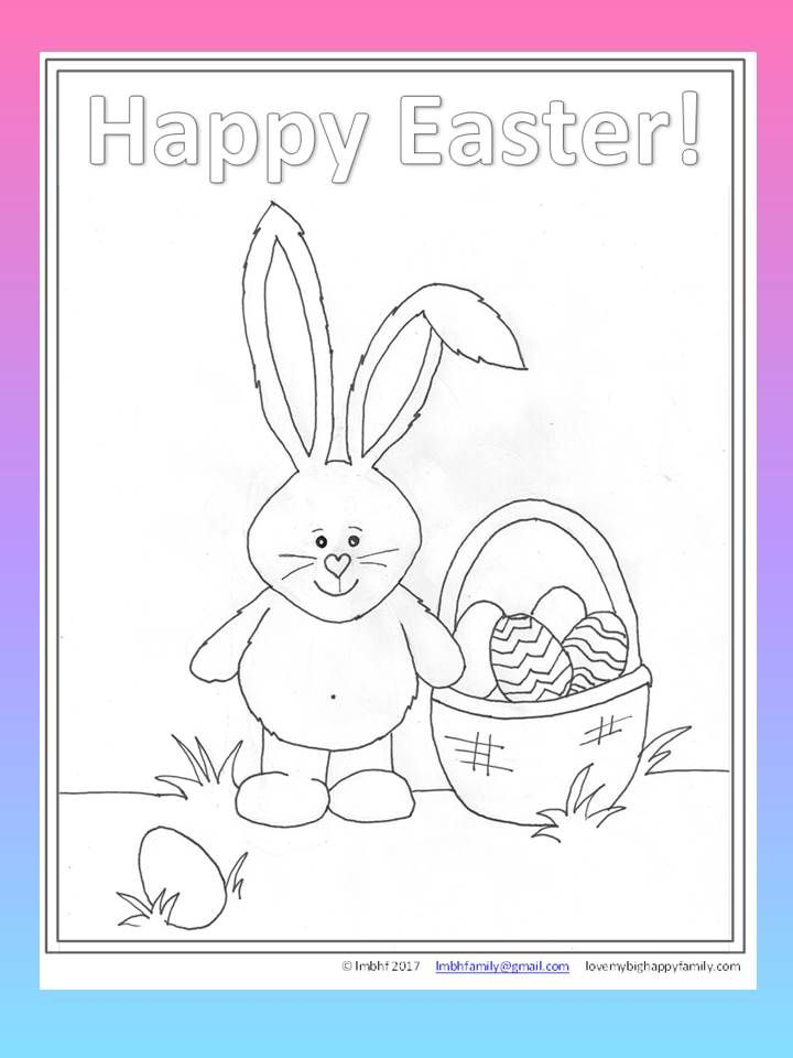 Easter Bunny and Basket with Eggs Coloring Page for Kids Easter